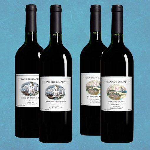 Basket of 4 red Cape Cod Cellars® Wines