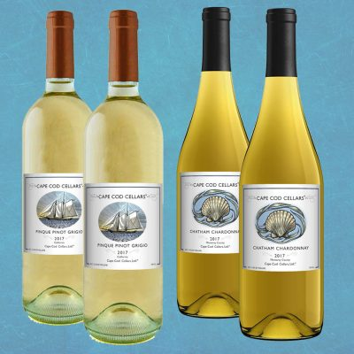 Basket of 4 white Cape Cod Cellars® Wines